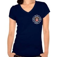 55639 Ladies Maltese Cross V-neck (Navy) FDNY126V frnt