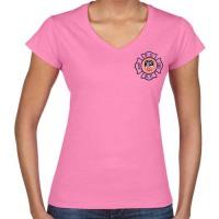 55787 Ladies Maltese Cross v-neck (Pink) FDNY126V frnt_1