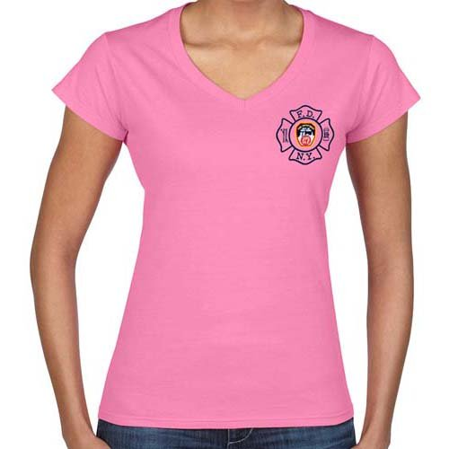 LADIES V-NECK MALTESE CROSS T-SHIRT (PINK) – FDNY Shop
