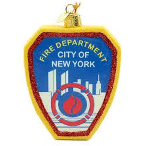 Glass FDNY Shield ornament 01300