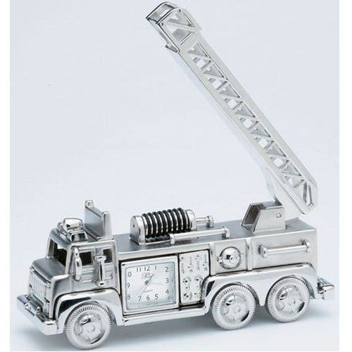 Silver Fire Engine Clock 01407