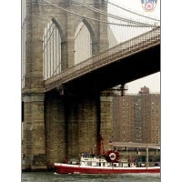 6037I - FIREBOAT JOHN D. MCKEAN UNDER BROOKLYN BRIDGE