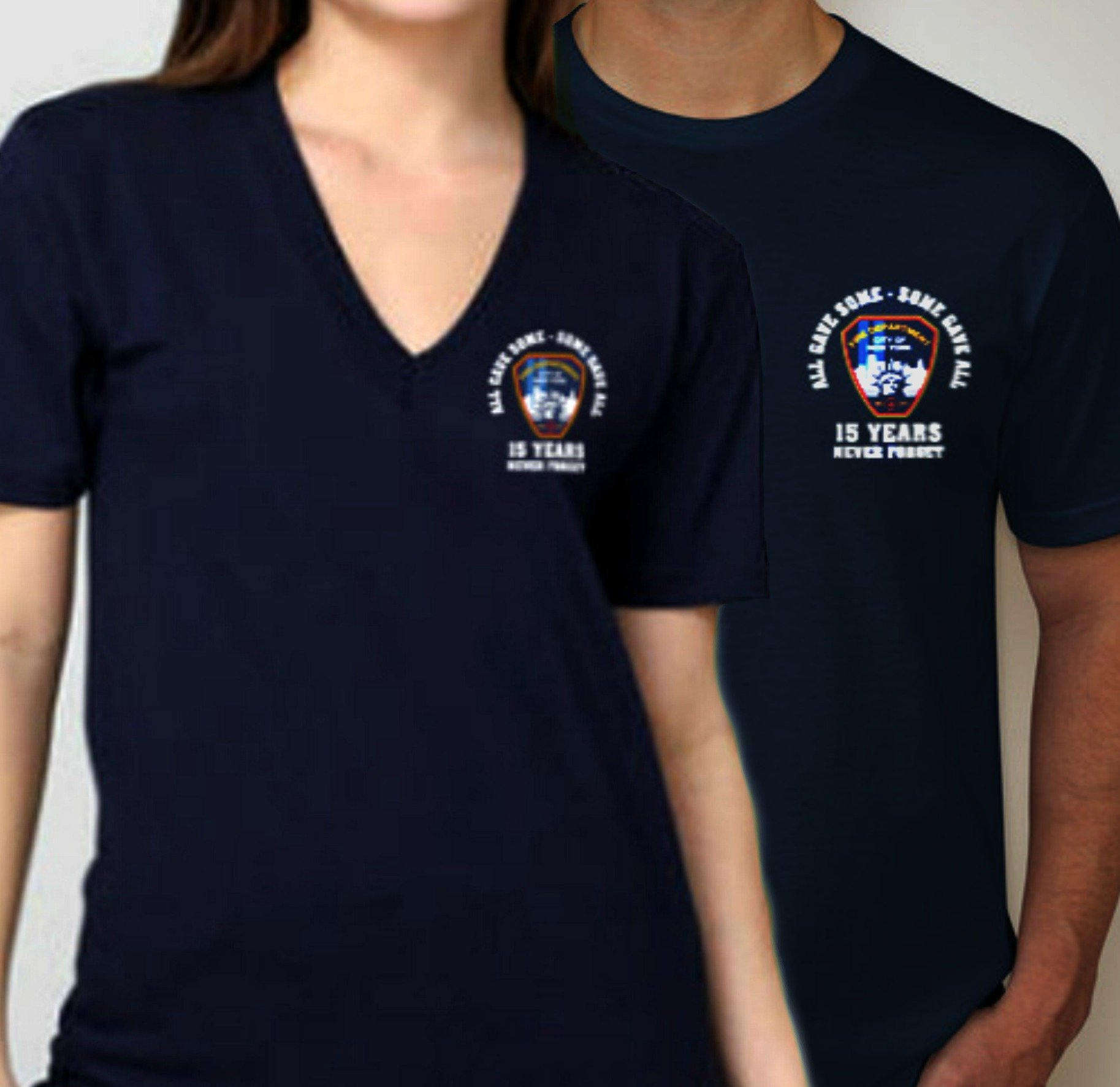 91acdcaa15c FDNY 15TH ANNIVERSARY 9 11 ALL GAVE SOME V-NECK T-SHIRT