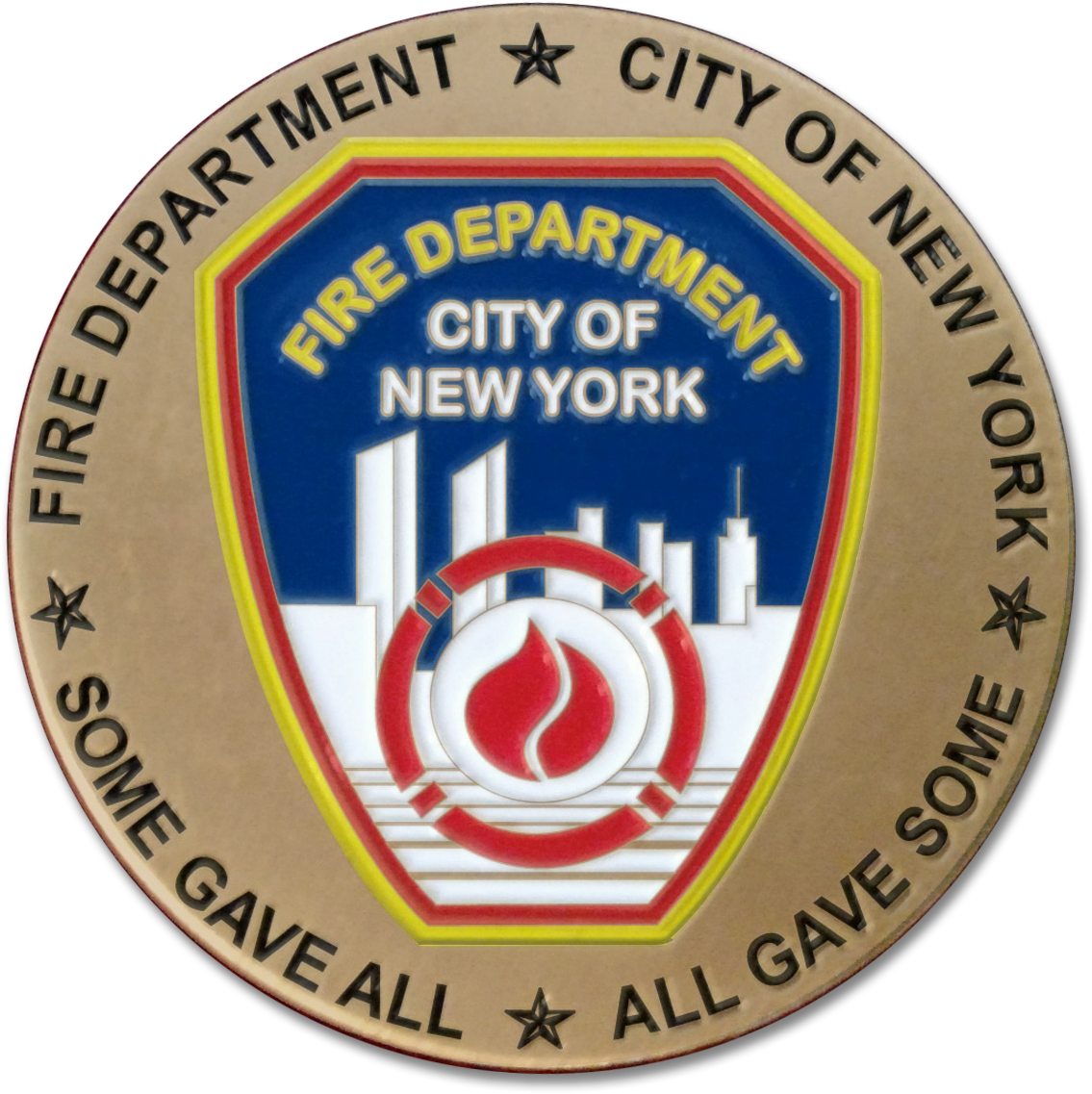 """FDNY 9/11 15TH ANNIVERSARY """"ALL GAVE SOME"""" CHALLENGE COIN"""