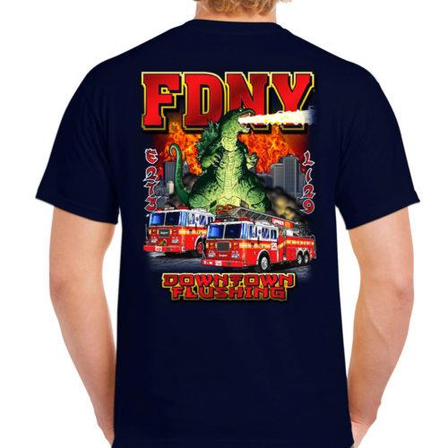 E273 L129 Godzilla Flushing House T-shirt bk