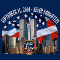 9-11 never forget tee TL 138 17th Ed bk logo